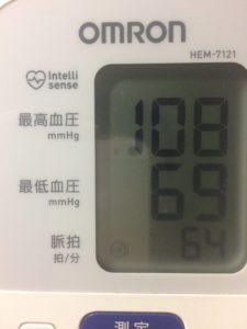 ミノキシジルタブレット服用後2時間後の血圧